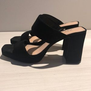 Zara Block Heel Sandals Suede Black 38